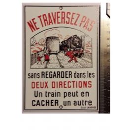 """Plaque """"Ne traversez pas """"Laborde, format carte postale 15 x 10,5"""