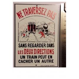 """Plaque """"Ne traversez pas"""" Liagre, format carte postale 15 x 10,5"""