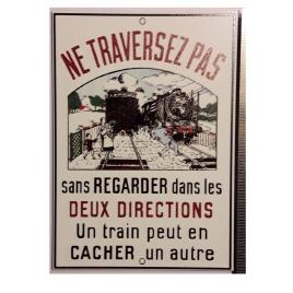 """Plaque """"Ne traversez pas"""" Dauphiné, format carte postale 15 x 10,5"""