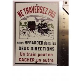 """Plaque """"Ne traversez pas """" Jean, format carte postale 15 x 10,5"""