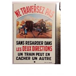 """Plaque """"Ne traversez pas """"Eas, format carte postale 15 x 10,5"""