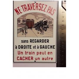 """Plaque """"Ne traversez pas """" Auer, format carte postale 15 x 10,5"""