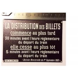 Plaque La distribution des billets, format 15 x 10,5 cm