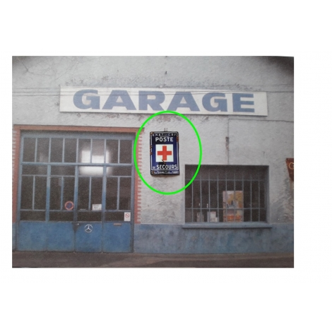 """Repro d'une plaque émaillée """" Poste de secours-Touring Club de France""""1/43,5-1/87"""