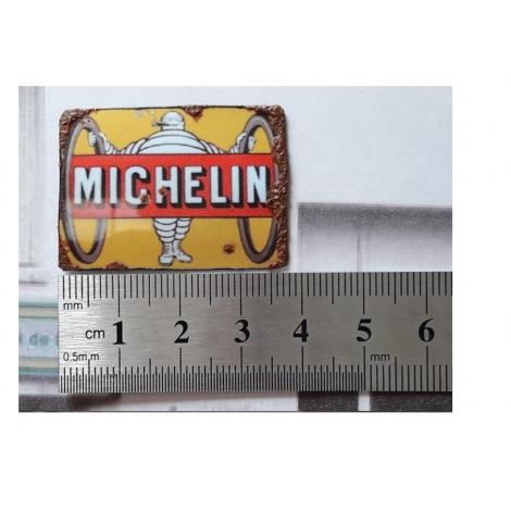 """Repro de plaque émaillée """" Michelin Bibendum avec 2 pneus"""" 1/43,5 - 1/87"""