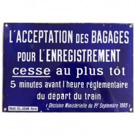 Plaque acceptation des bagages