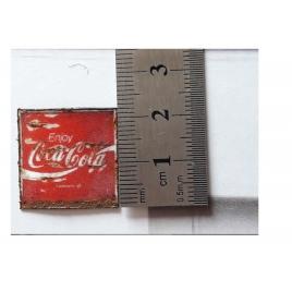 """Repro d'une plaque émaillée """" Coca-Cola carrée"""" -1/87"""
