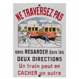 plaque passage à niveau Train Jaune