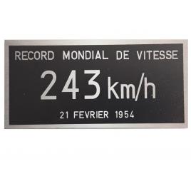 Plaque record du monde de vitesse 243 km/h 15 cm