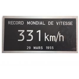 Plaque record du monde de vitesse BB9004 331 KM/H