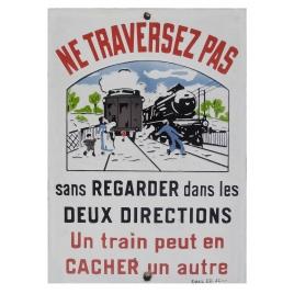 Plaque de passage à Niveau émaillerie Edmond Jean.