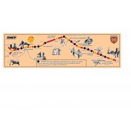 Plaque du parcours du train jaune , années 1970 petit format : longueur 25 cm.