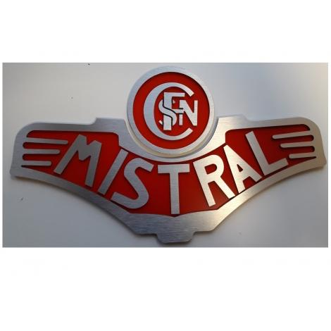 Plaque frontale Mistral, modèle vapeur avec logo Sncf entrelaçé