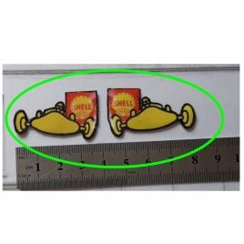 """Repro de plaque émaillée """" Enseigne voiture de course Shell"""" 1/43,5 - 1/87"""