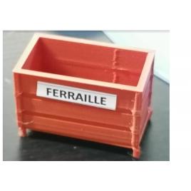 Bac de recyclage pour la ferraille, échelle zéro