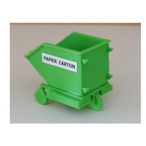 Bac vert papier carton, échelle zéro