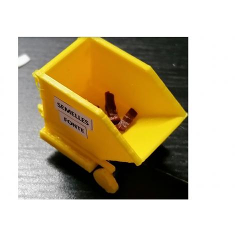 Bac de recyclage pour les semelles de freins usées, échelle zéro