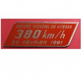 Plaque record du monde de vitesse 380 km/h